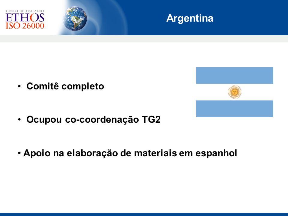 Argentina Comitê completo Ocupou co-coordenação TG2