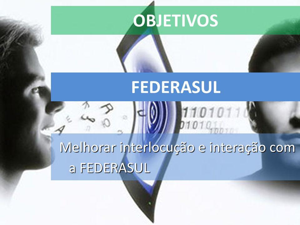 OBJETIVOS FEDERASUL Melhorar interlocução e interação com a FEDERASUL