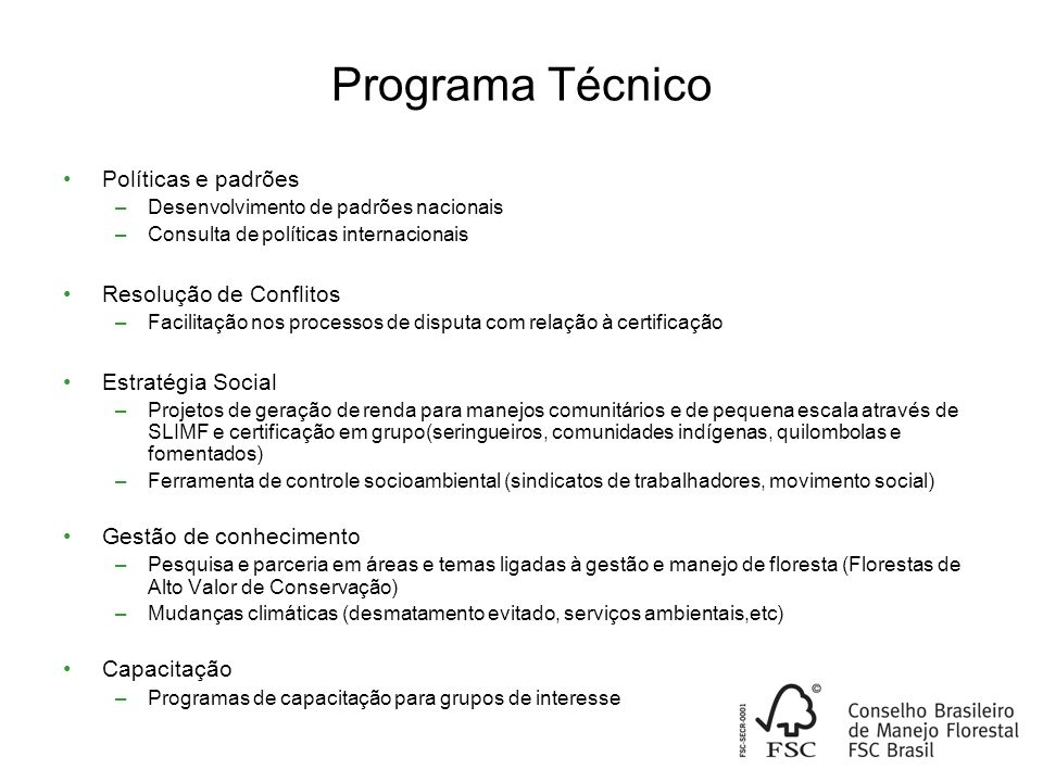 Programa Técnico Políticas e padrões Resolução de Conflitos