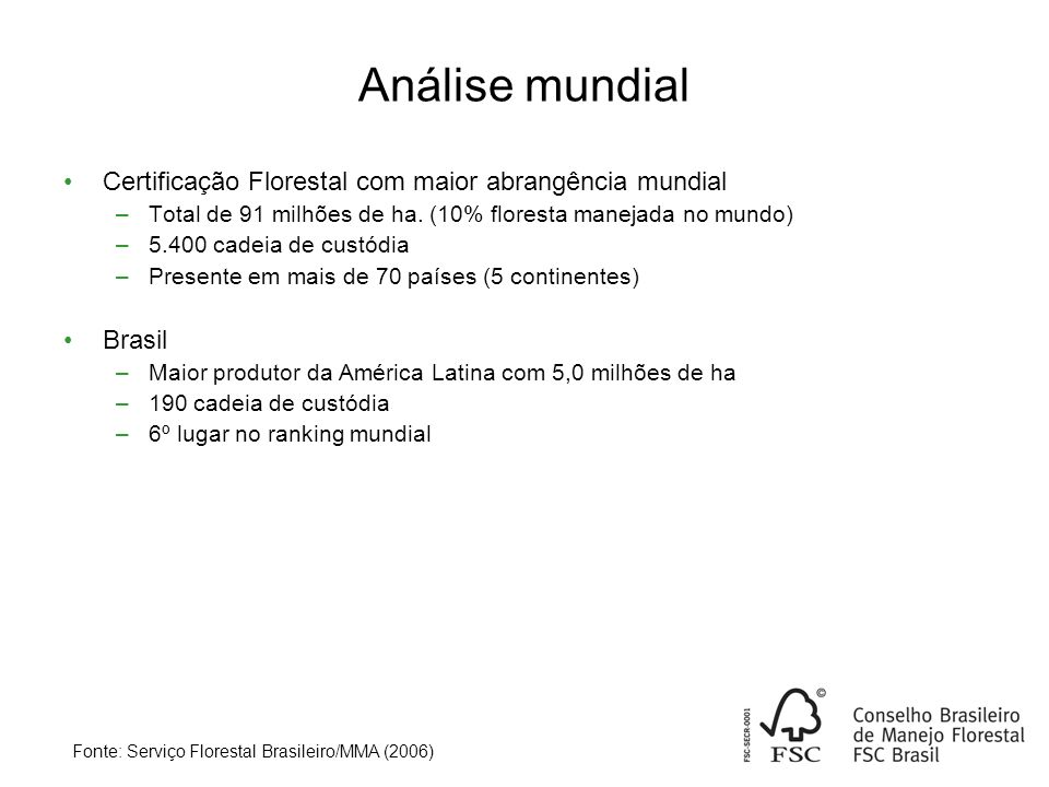 Análise mundial Certificação Florestal com maior abrangência mundial