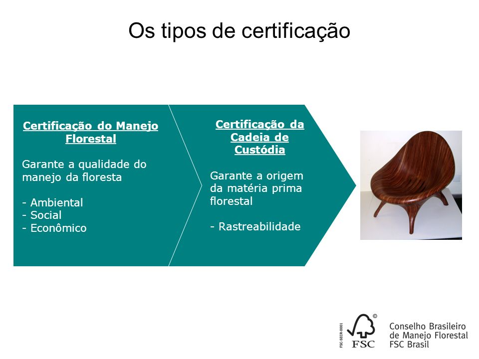 Certificação do Manejo Florestal Certificação da Cadeia de Custódia