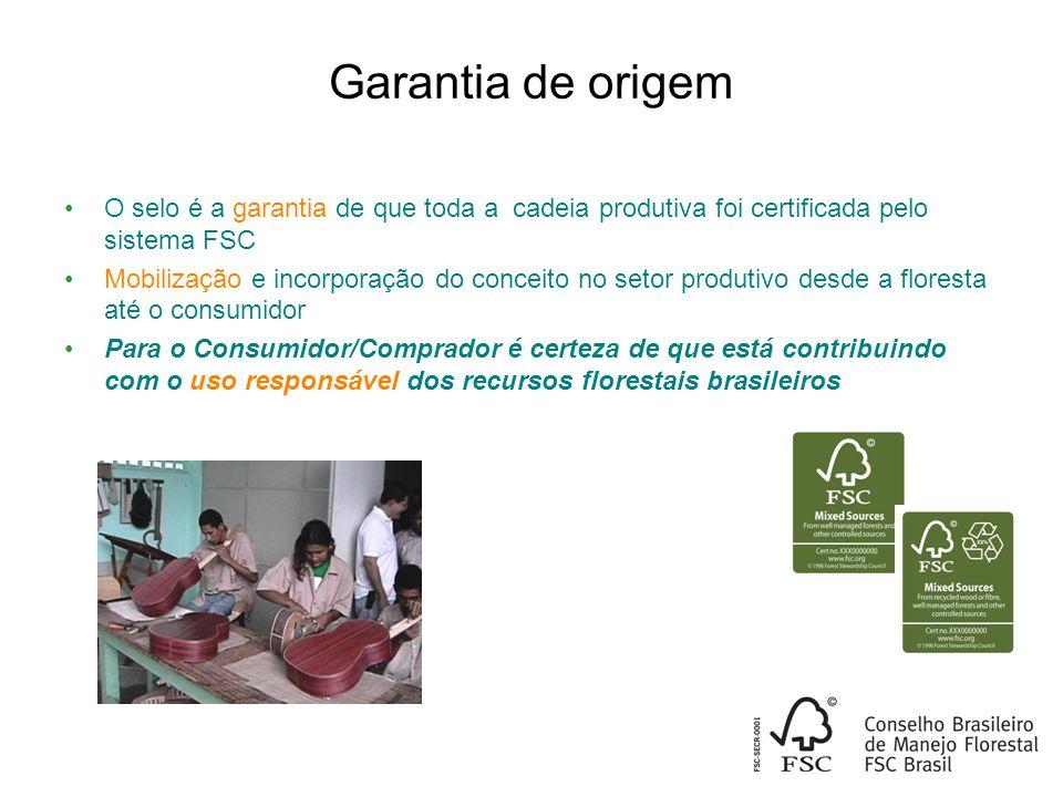 Garantia de origem O selo é a garantia de que toda a cadeia produtiva foi certificada pelo sistema FSC.