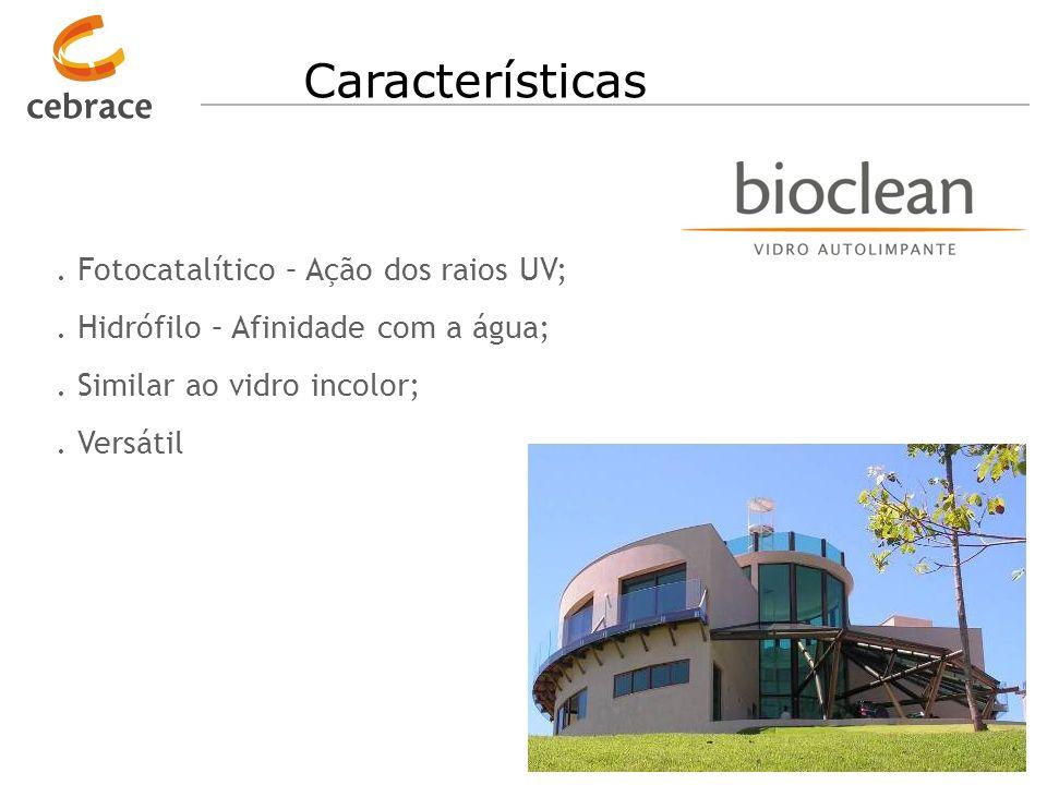 Características . Fotocatalítico – Ação dos raios UV;