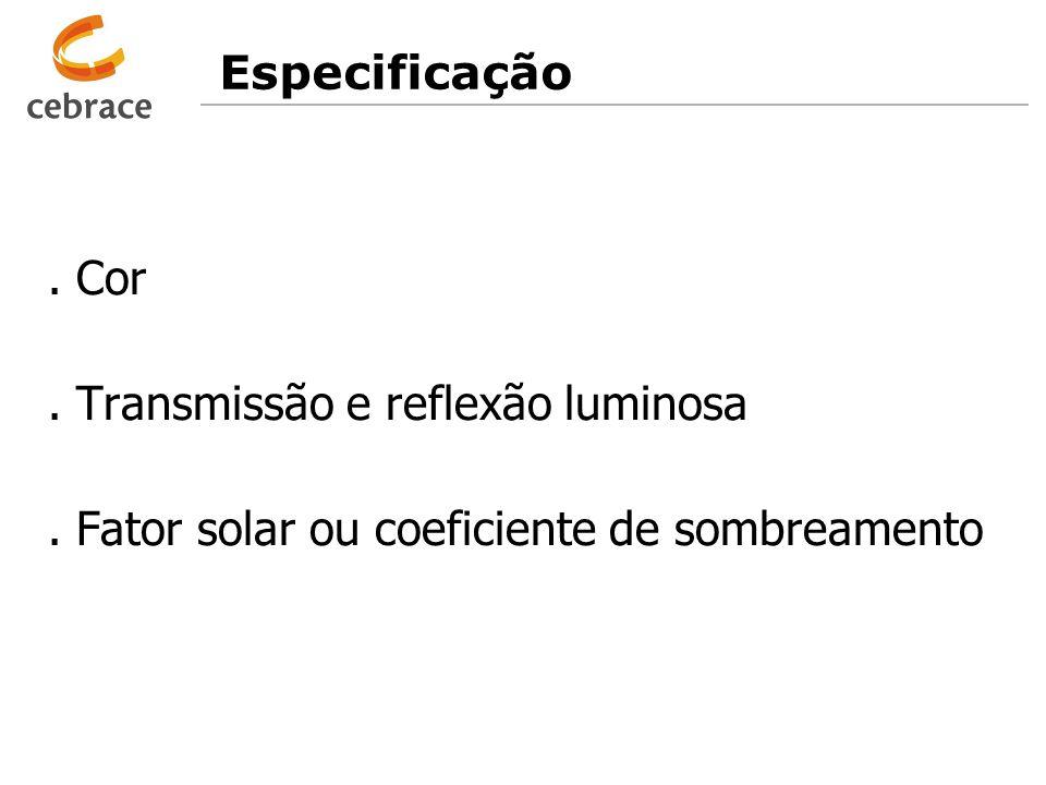 Especificação . Cor . Transmissão e reflexão luminosa . Fator solar ou coeficiente de sombreamento