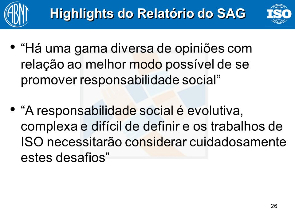 Highlights do Relatório do SAG