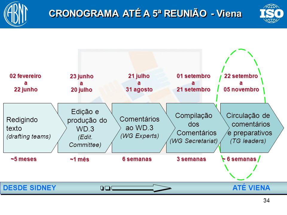 CRONOGRAMA ATÉ A 5ª REUNIÃO - Viena