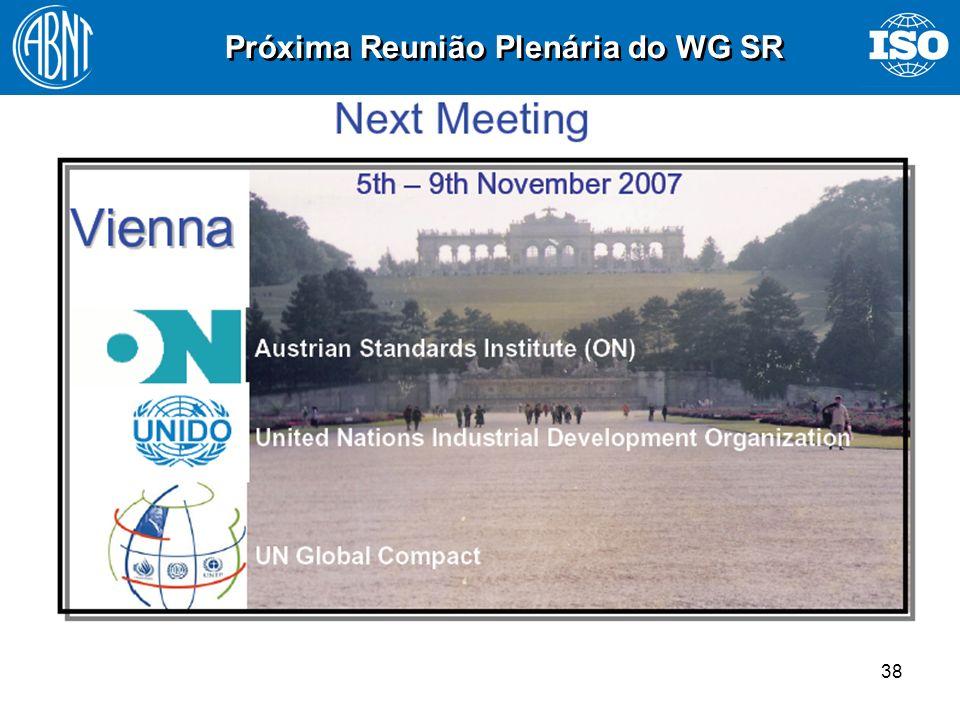 Próxima Reunião Plenária do WG SR
