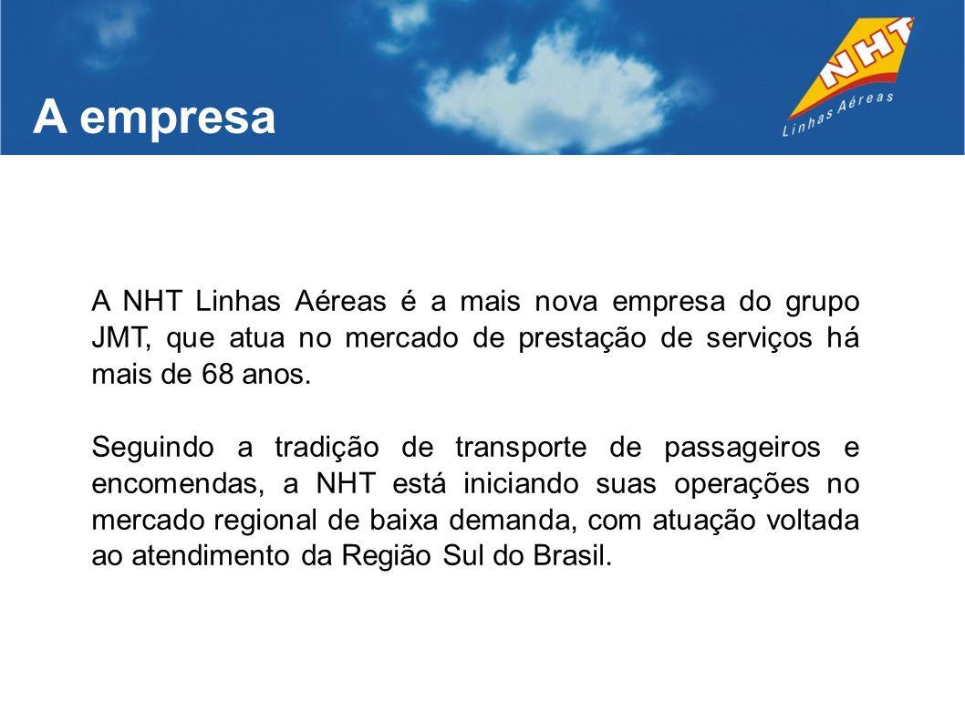 A empresa A NHT Linhas Aéreas é a mais nova empresa do grupo JMT, que atua no mercado de prestação de serviços há mais de 68 anos.