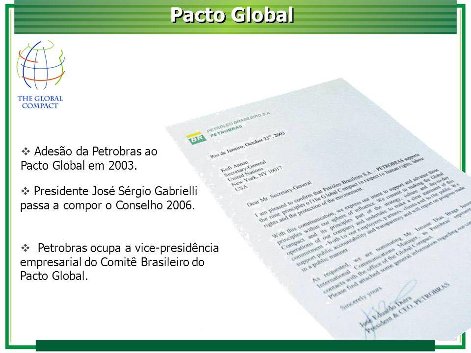 Pacto Global Adesão da Petrobras ao Pacto Global em 2003.