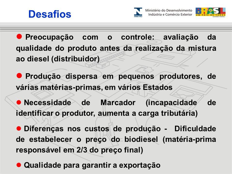 Desafios Preocupação com o controle: avaliação da qualidade do produto antes da realização da mistura ao diesel (distribuidor)