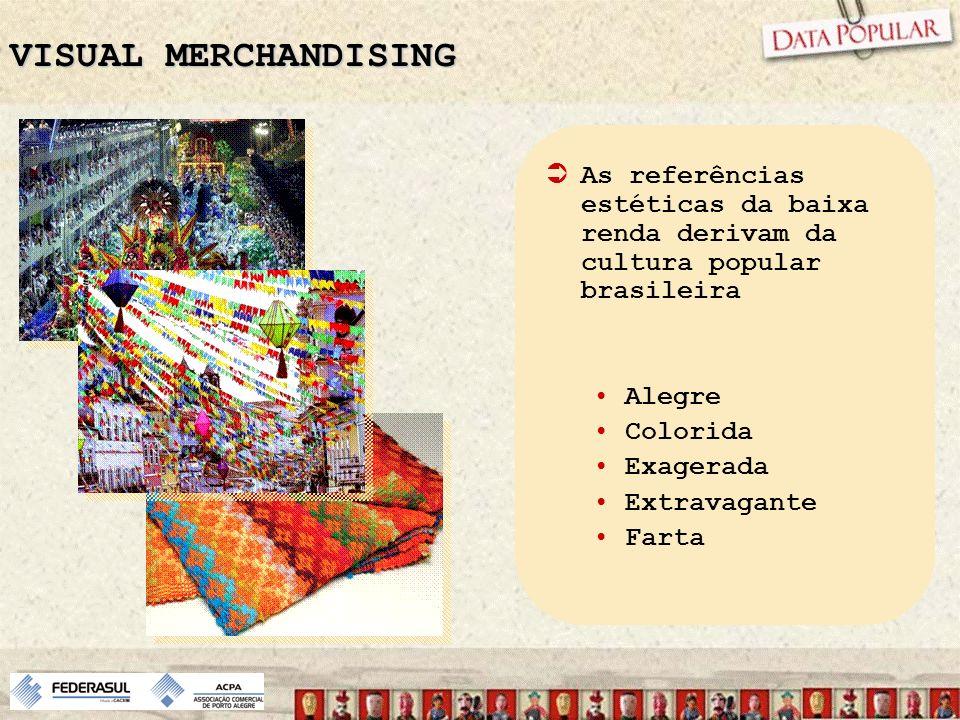 VISUAL MERCHANDISING As referências estéticas da baixa renda derivam da cultura popular brasileira.