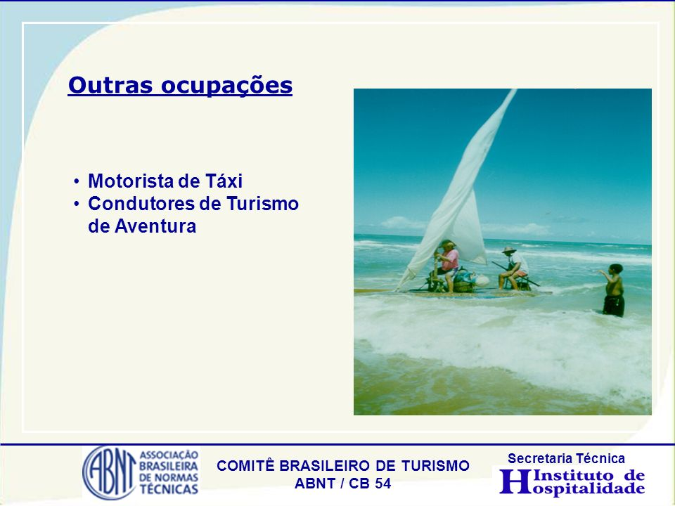 Outras ocupações Motorista de Táxi Condutores de Turismo de Aventura