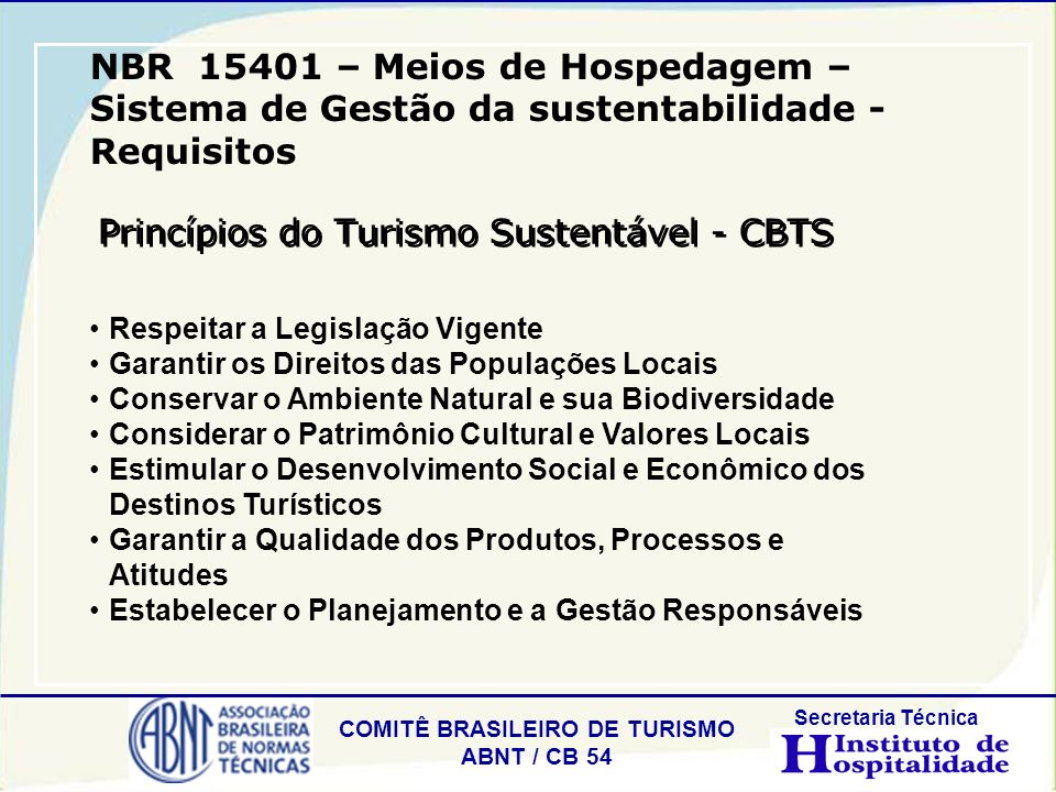 Princípios do Turismo Sustentável - CBTS