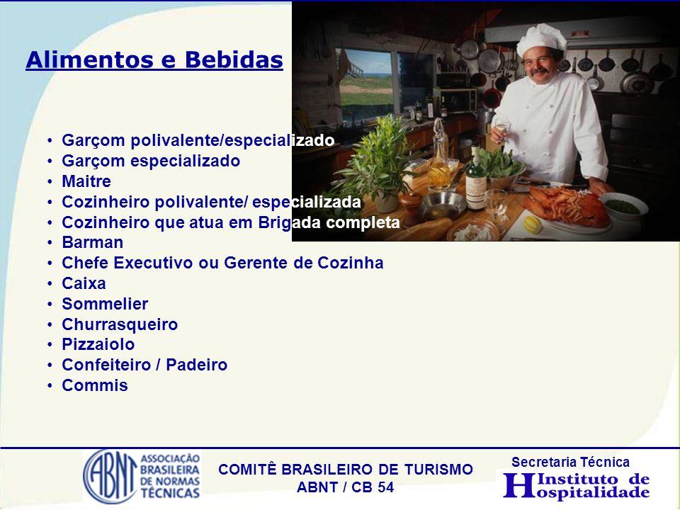 Alimentos e Bebidas Garçom polivalente/especializado