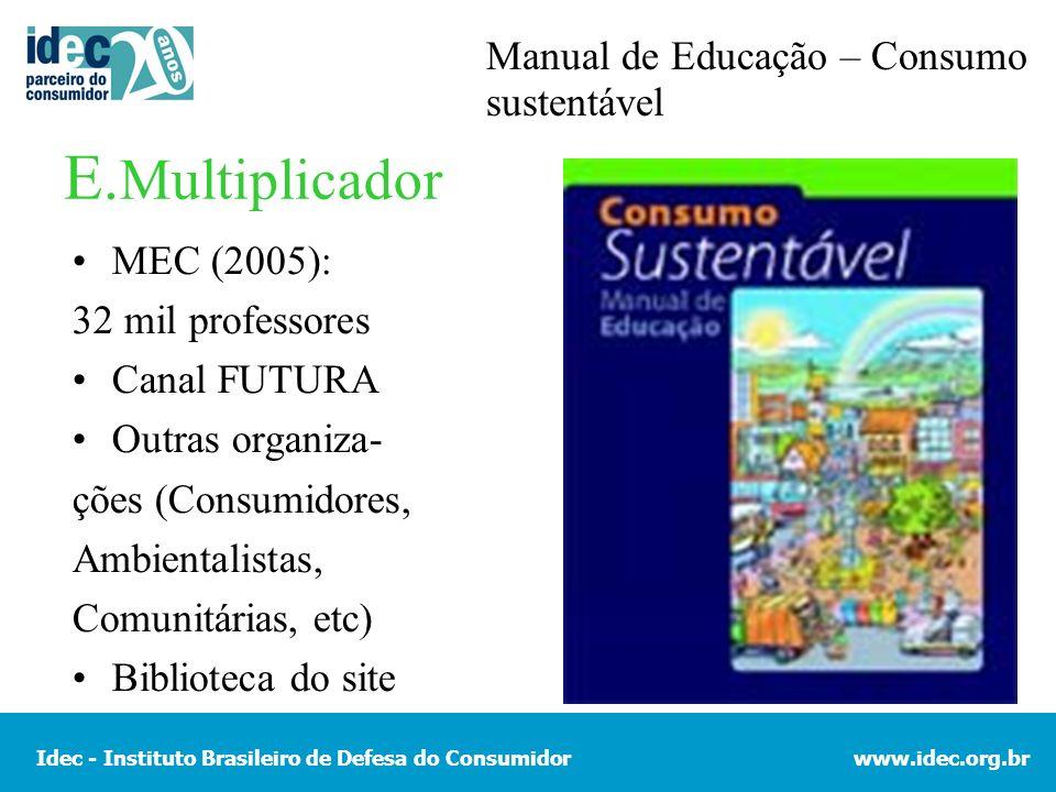 E.Multiplicador Manual de Educação – Consumo sustentável MEC (2005):