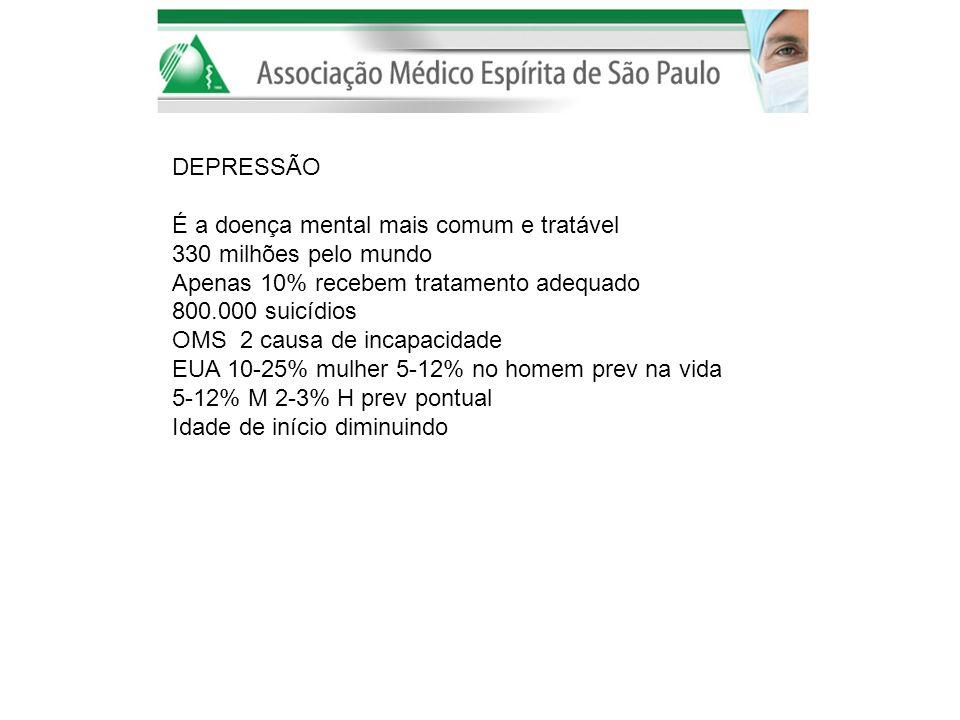 DEPRESSÃO É a doença mental mais comum e tratável. 330 milhões pelo mundo. Apenas 10% recebem tratamento adequado.