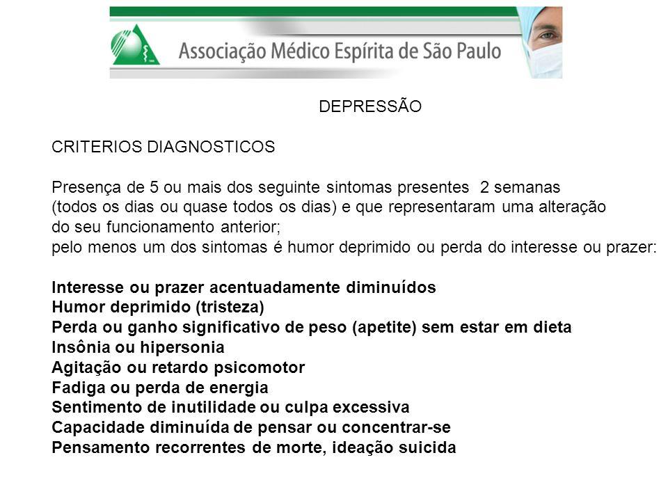 DEPRESSÃO CRITERIOS DIAGNOSTICOS. Presença de 5 ou mais dos seguinte sintomas presentes 2 semanas.