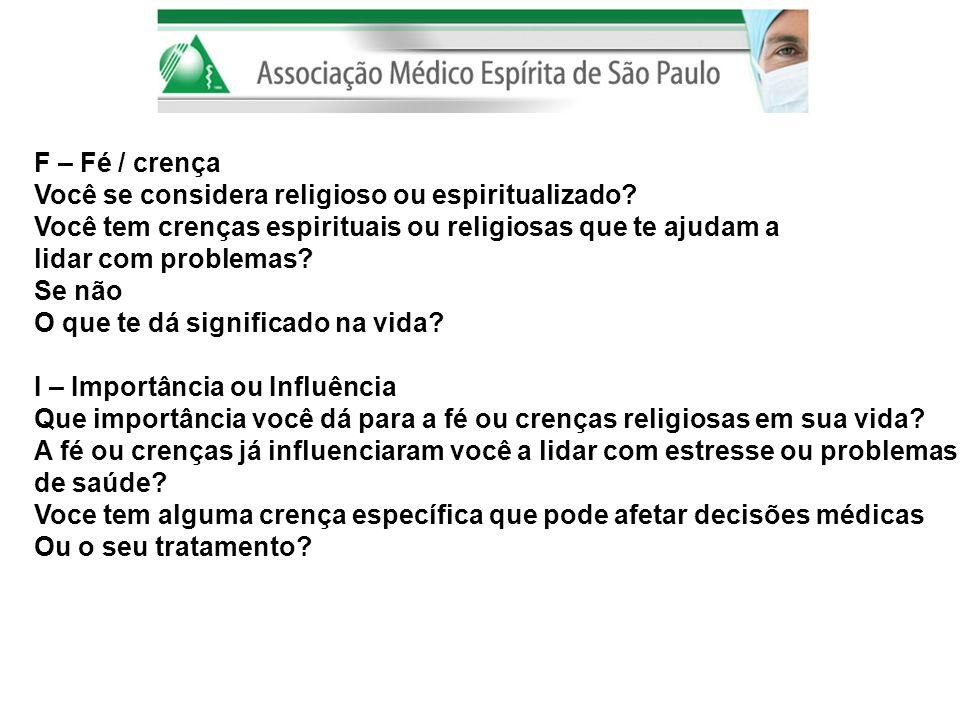 F – Fé / crença Você se considera religioso ou espiritualizado Você tem crenças espirituais ou religiosas que te ajudam a.