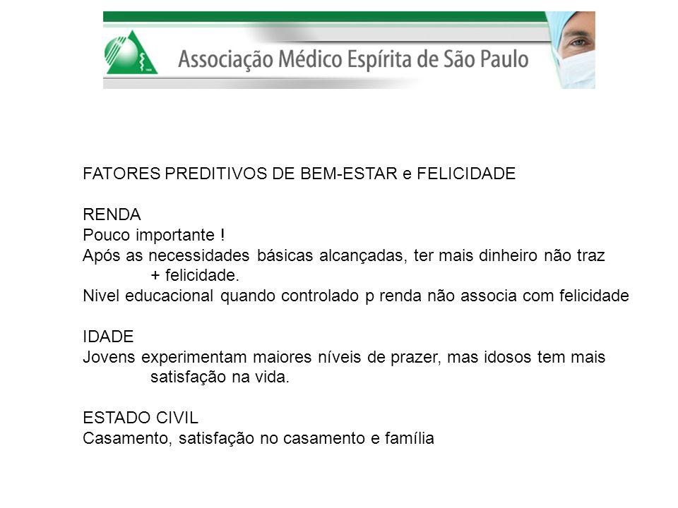 FATORES PREDITIVOS DE BEM-ESTAR e FELICIDADE