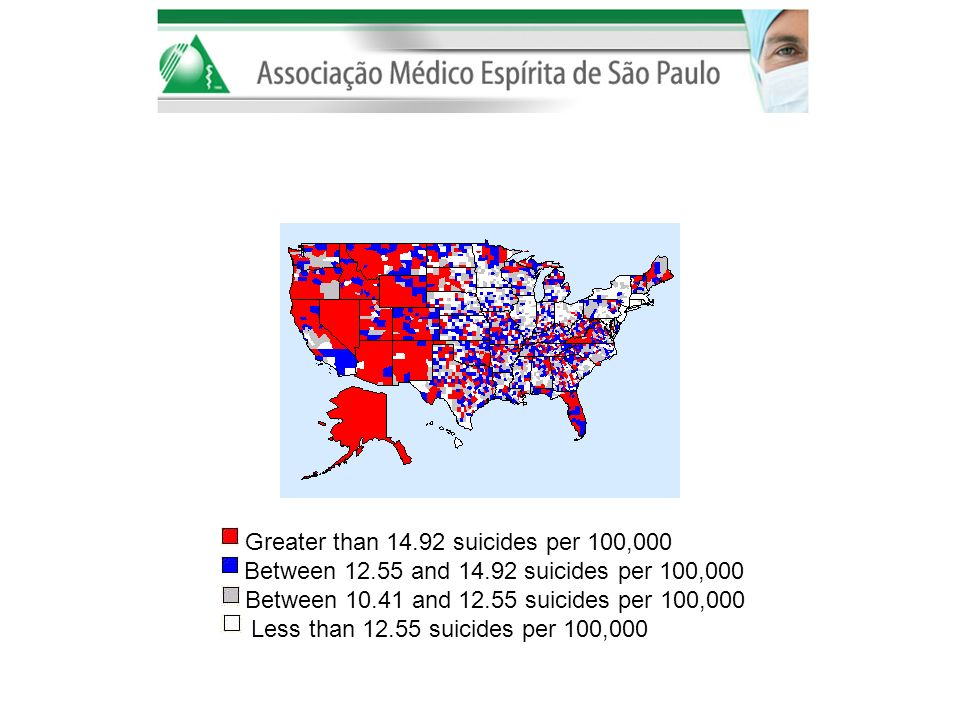 Greater than 14. 92 suicides per 100,000 Between 12. 55 and 14