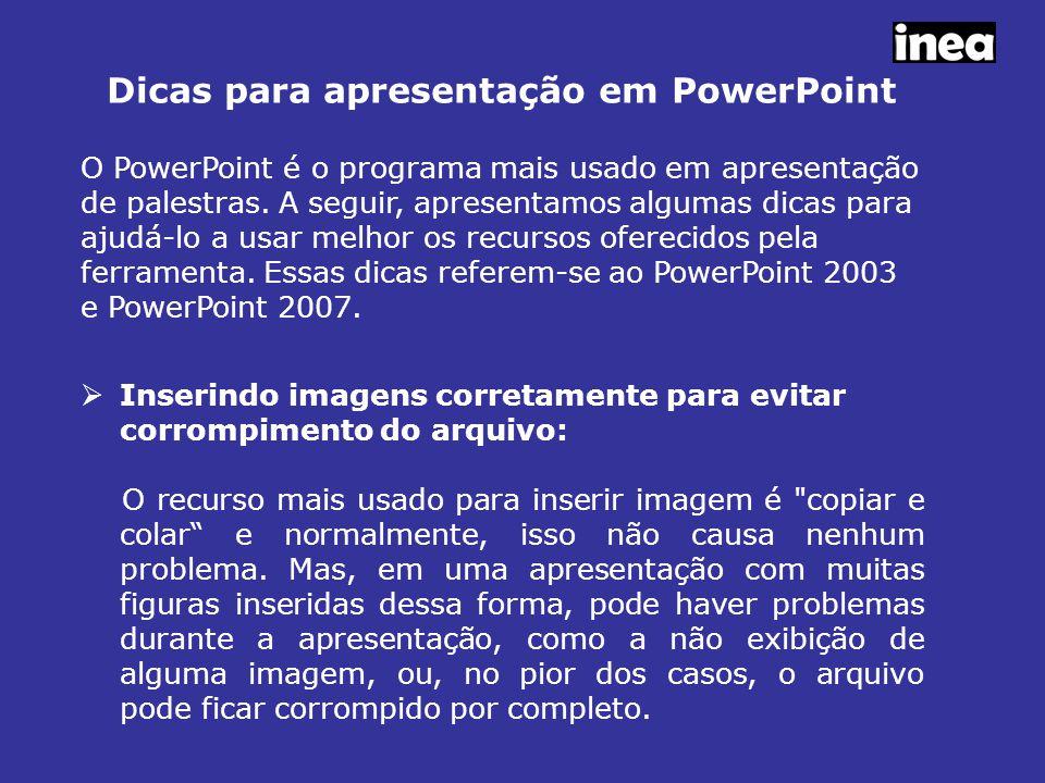Dicas para apresentação em PowerPoint