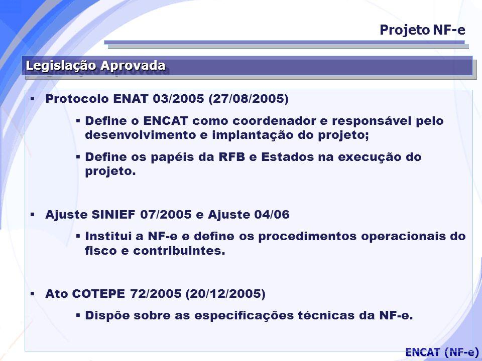 Projeto NF-e Legislação Aprovada Protocolo ENAT 03/2005 (27/08/2005)