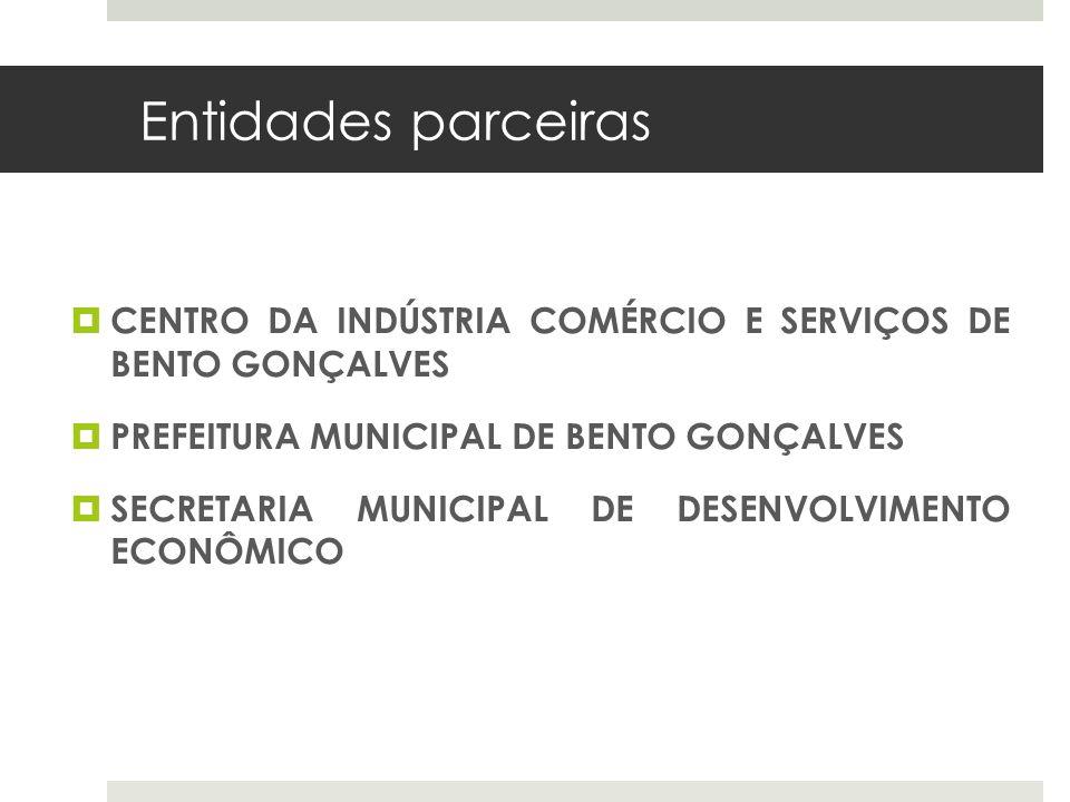 Entidades parceiras CENTRO DA INDÚSTRIA COMÉRCIO E SERVIÇOS DE BENTO GONÇALVES. PREFEITURA MUNICIPAL DE BENTO GONÇALVES.