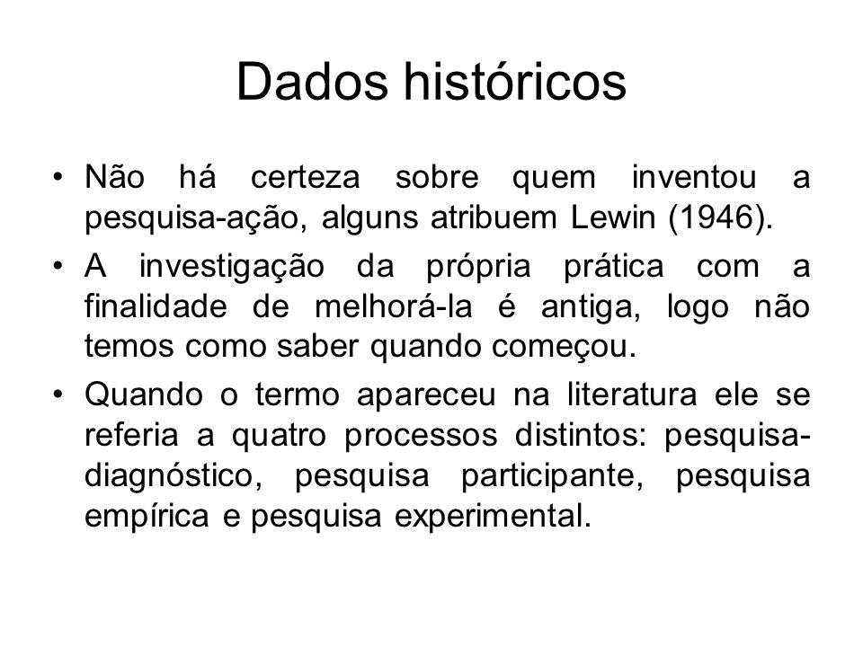 Dados históricos Não há certeza sobre quem inventou a pesquisa-ação, alguns atribuem Lewin (1946).