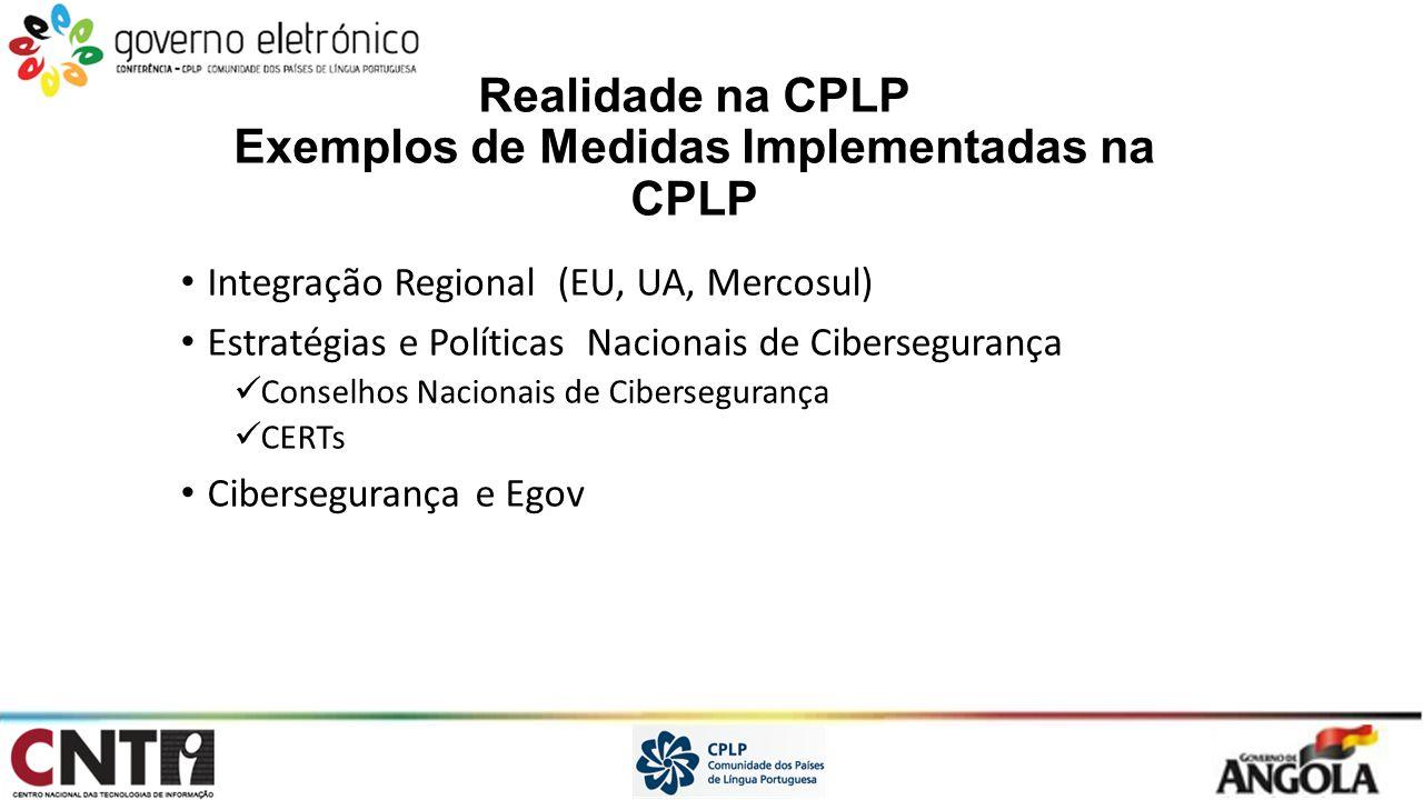 Realidade na CPLP Exemplos de Medidas Implementadas na CPLP