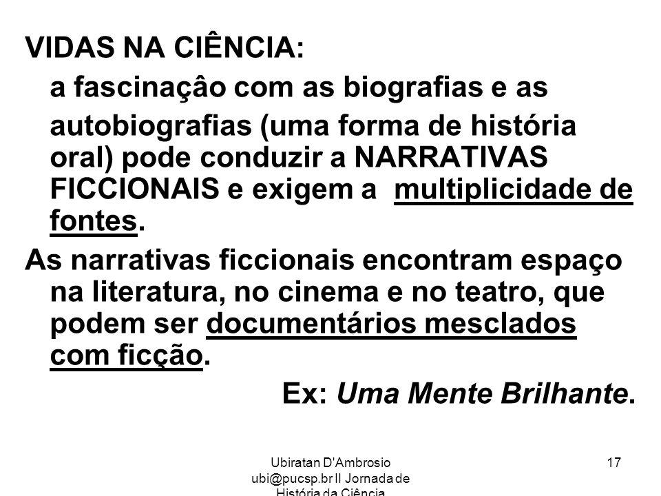 Ubiratan D Ambrosio ubi@pucsp.br II Jornada de História da Ciência