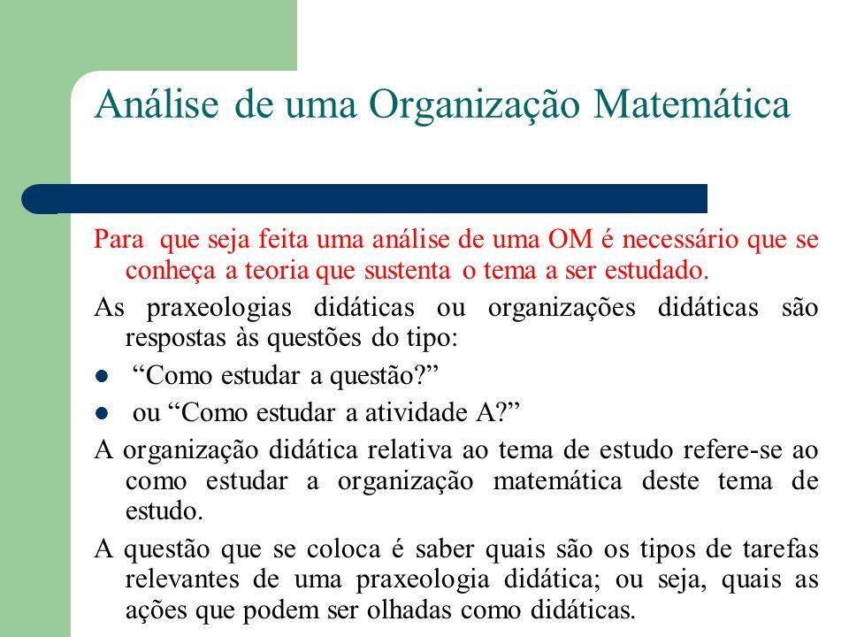 Análise de uma Organização Matemática