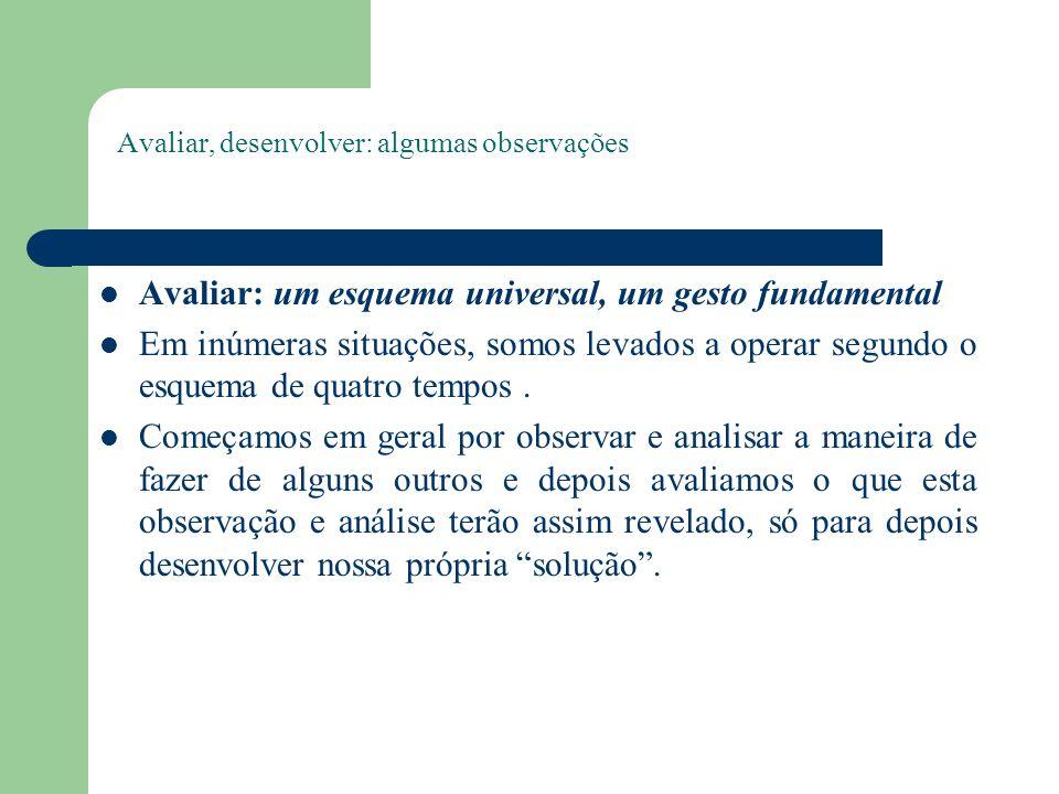 Avaliar, desenvolver: algumas observações