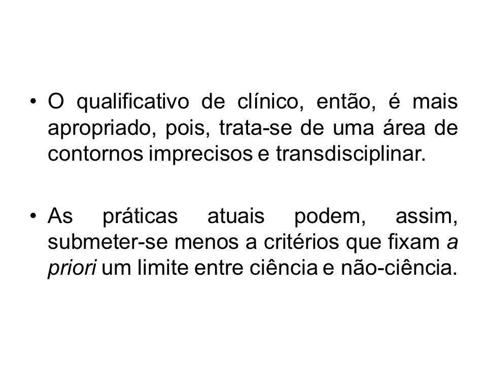 O qualificativo de clínico, então, é mais apropriado, pois, trata-se de uma área de contornos imprecisos e transdisciplinar.
