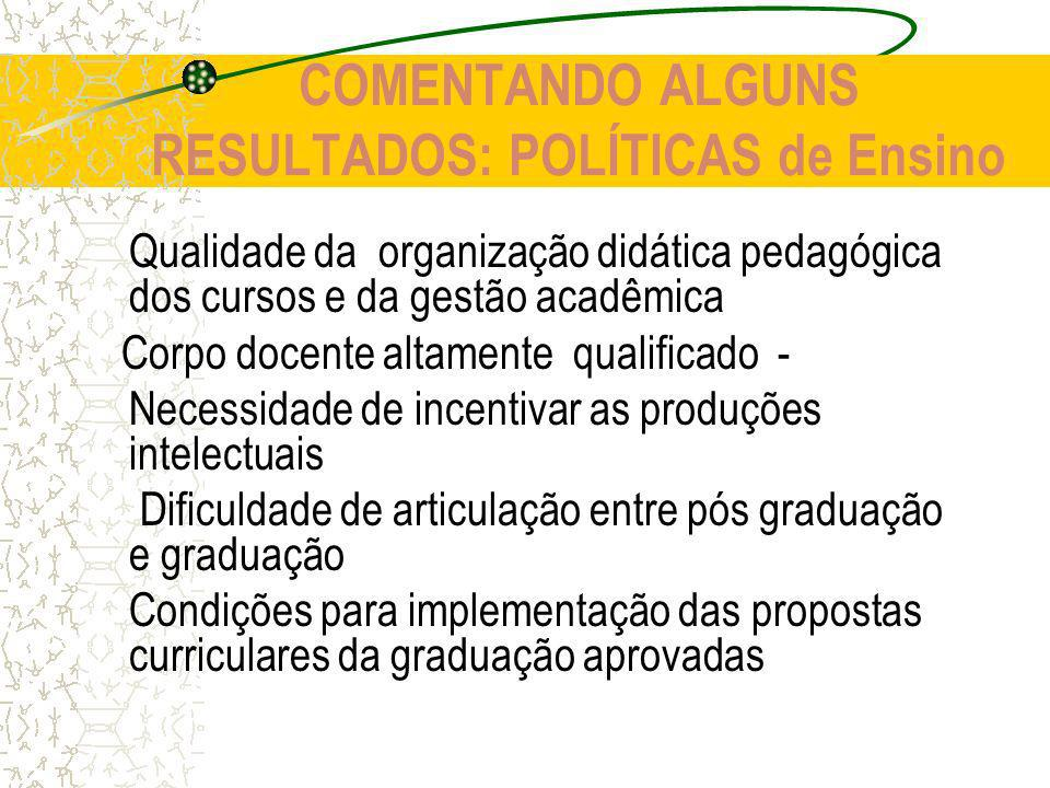 COMENTANDO ALGUNS RESULTADOS: POLÍTICAS de Ensino