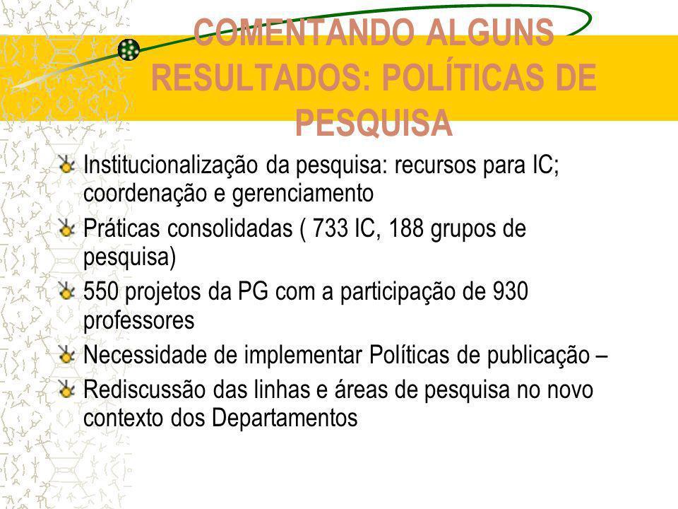 COMENTANDO ALGUNS RESULTADOS: POLÍTICAS DE PESQUISA