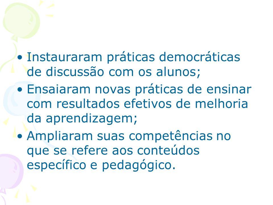 Instauraram práticas democráticas de discussão com os alunos;