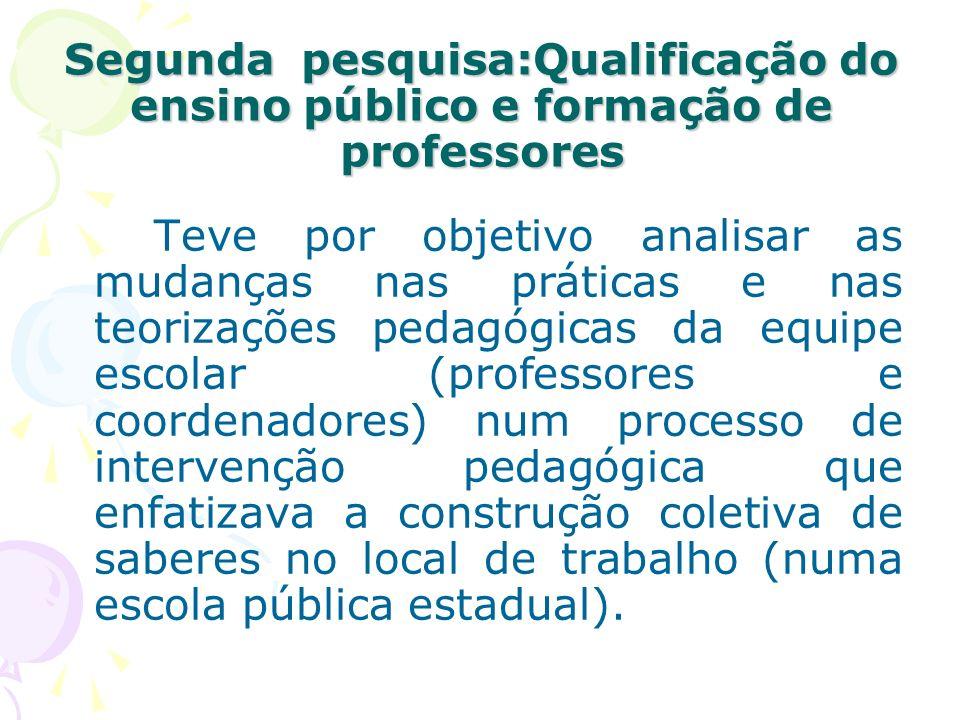 Segunda pesquisa:Qualificação do ensino público e formação de professores