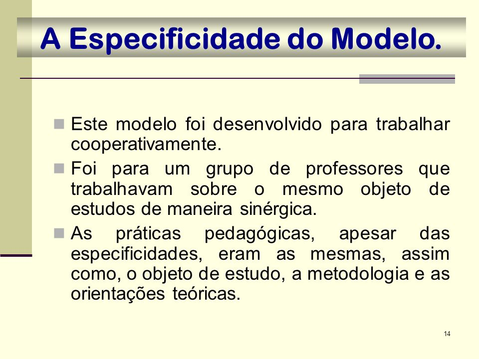 A Especificidade do Modelo.