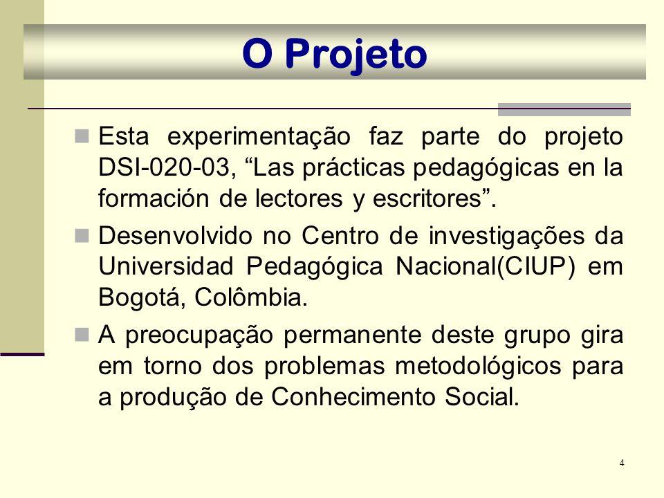O Projeto Esta experimentação faz parte do projeto DSI-020-03, Las prácticas pedagógicas en la formación de lectores y escritores .