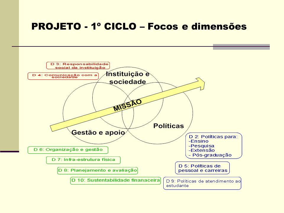PROJETO - 1º CICLO – Focos e dimensões