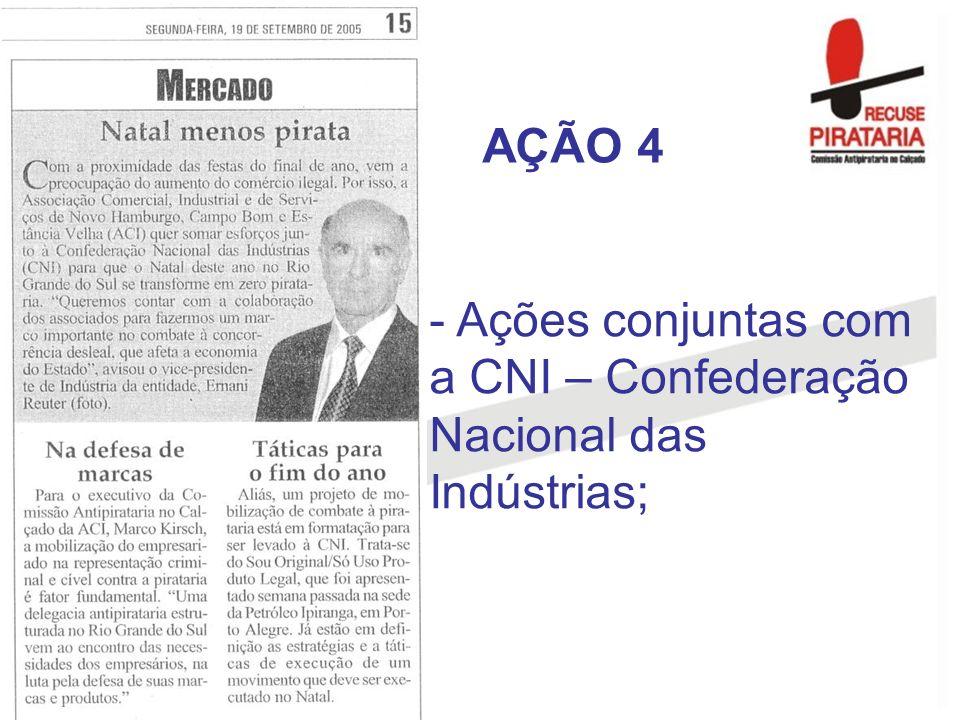 AÇÃO 4 Ações conjuntas com a CNI – Confederação Nacional das Indústrias;