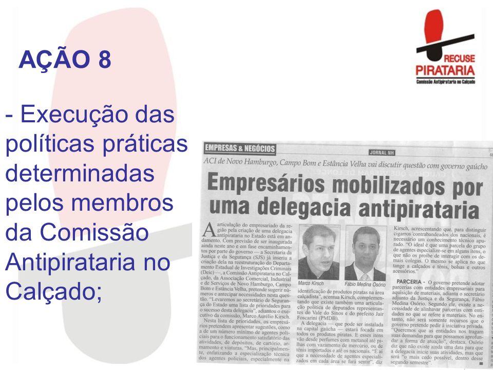 AÇÃO 8 Execução das políticas práticas determinadas pelos membros da Comissão Antipirataria no Calçado;