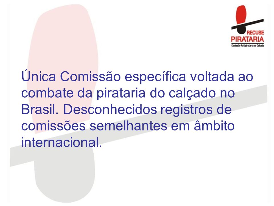 Única Comissão específica voltada ao combate da pirataria do calçado no Brasil.