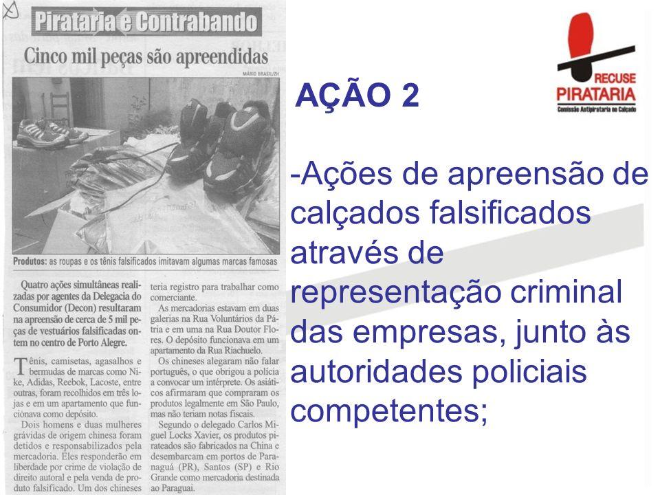 AÇÃO 2 Ações de apreensão de calçados falsificados através de representação criminal das empresas, junto às autoridades policiais competentes;