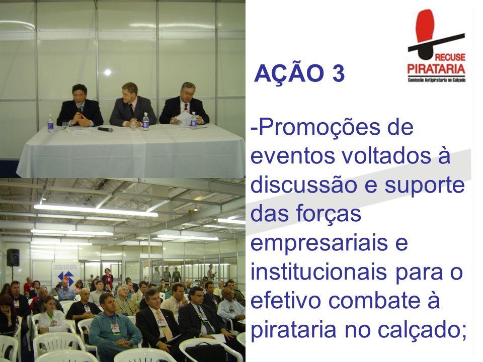 AÇÃO 3 Promoções de eventos voltados à discussão e suporte das forças empresariais e institucionais para o efetivo combate à pirataria no calçado;
