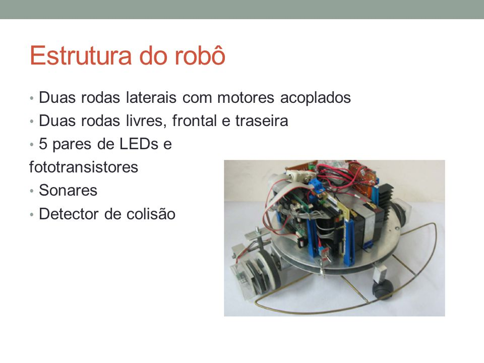 Estrutura do robô Duas rodas laterais com motores acoplados