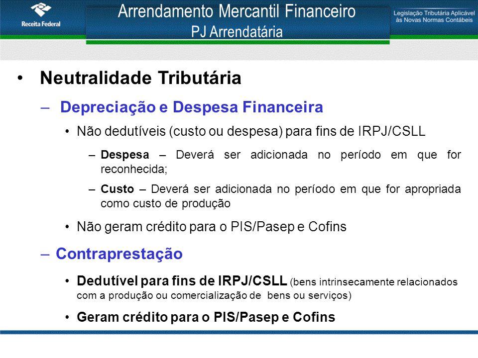 Arrendamento Mercantil Financeiro PJ Arrendatária