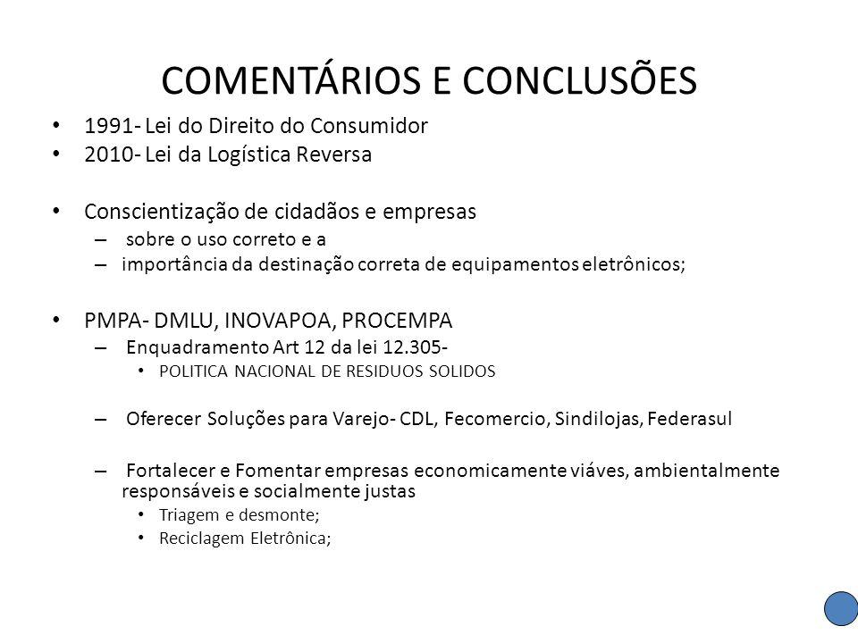 COMENTÁRIOS E CONCLUSÕES