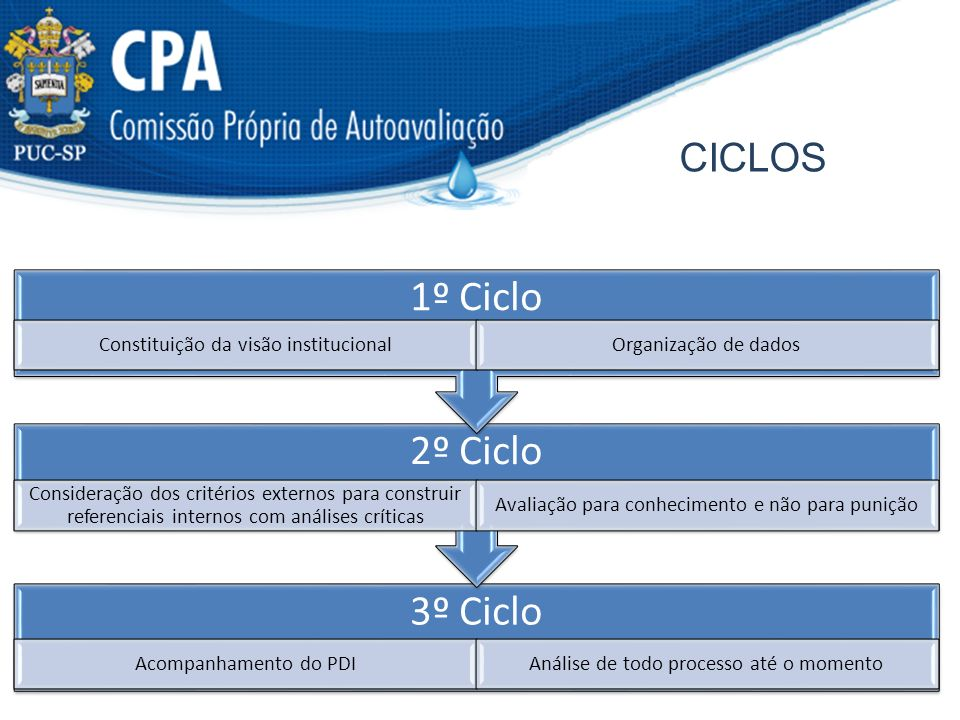 1º Ciclo 2º Ciclo 3º Ciclo ciclos Constituição da visão institucional
