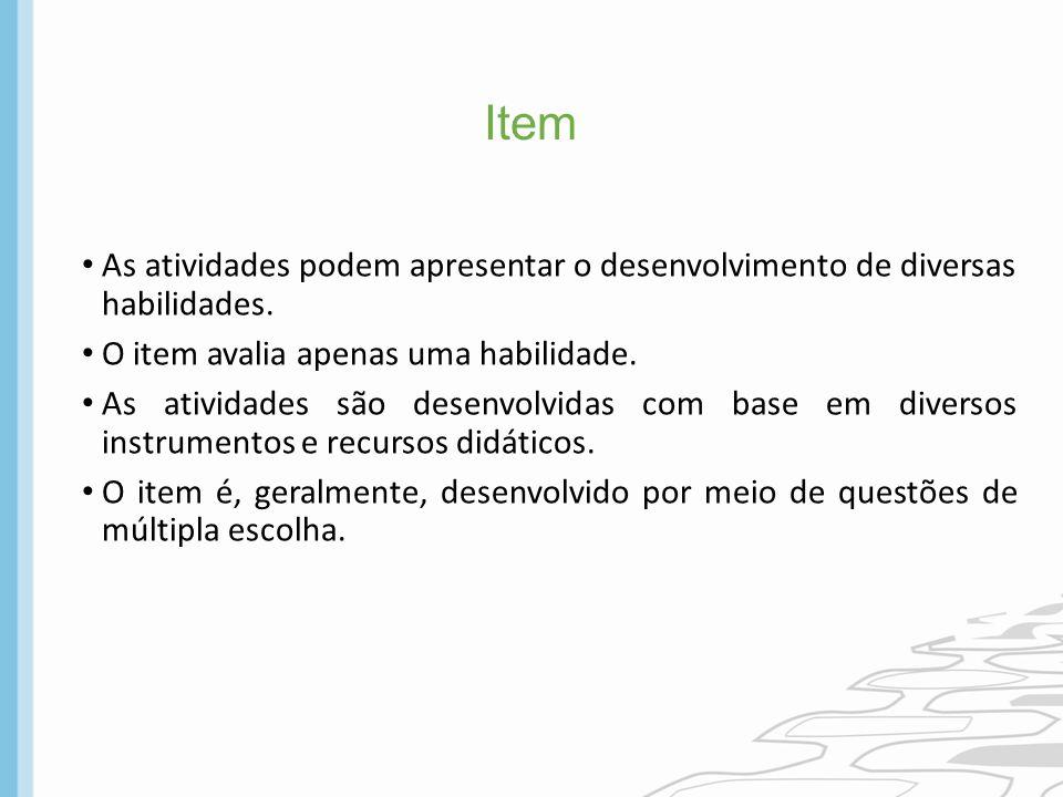 Item As atividades podem apresentar o desenvolvimento de diversas habilidades. O item avalia apenas uma habilidade.